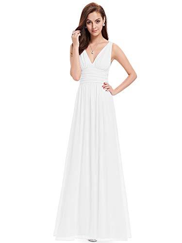 Ever-pretty vestito da sera elegante in chiffon sexy con scollo a v doppio bianco 54