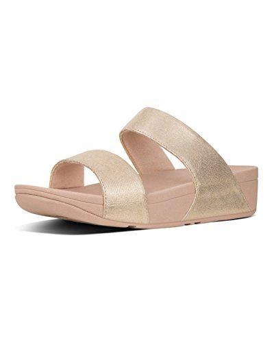 FitFlop Damen Shimmy Slide Sandals - FOIL Print Suede Plateausandalen, Pink 574, 41 EU -
