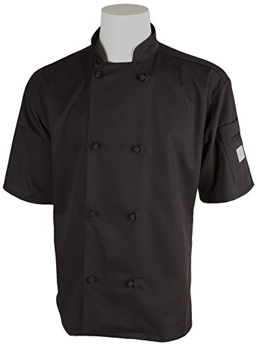 Mercer Culinary M60014BKM Millennia Unisex Short Sleeve Cook Jacket with  Cloth Knot Buttons b81afbadd