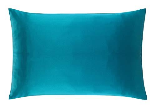 CosCool Taie d'oreiller 100 % soie naturelle de mûrier des deux côtés avec fermeture Éclair invisible Soie de 25 momme, saine et anti-allergène, Soie, bleu paon, King