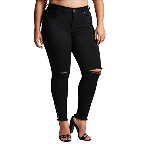 Wetry jeggings jeans strappati al ginocchio donna pantaloni stretti vita alta skinny jeans elasticizzati neri pantaloni taglie forti denim leggings/7xl