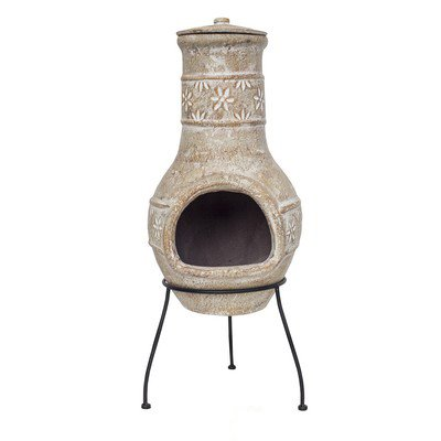 La Hacienda Straw colour Chiminea with Star Flower design Patio Heater