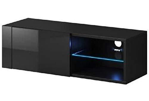 PEGANE Meuble TV Design Coloris Noir/Noir Brillant, éclairage LED - Dim : 100 x 30 x 36 cm