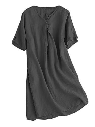 Mallimoda Damen Sommerkleid Leinenkleider V-Ausschnitt Kurzarm Midi Kleid Lange Tunika Bluse Schwarz L