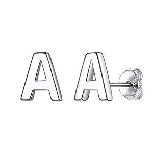 ChicSilver 925er Buchstabe A bis Z Ohrringe Damen Platin Alphabet Ohrstecker mit Geschenkebox für Damen und Mädchen Weihnachten/Valentinstag Geschenke