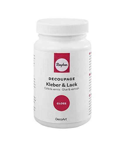 Rayher Decoupage Kleber und Lack Gloss, Flasche 236ml, Div. Materialien, transparent, 6.1 x 6.1 x 11 cm