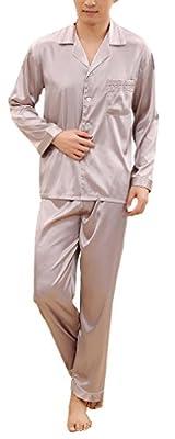 FLYCHEN Men's Luxury Long Sleeve Satin Pyjama Sets Top and Bottom