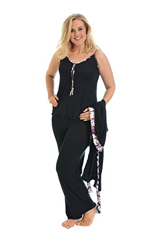 2 In 1 Floral Trim Pj Set Purple 26-28 (Tank Set Pj)