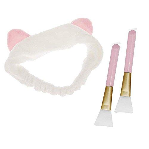 Haobase 2 Stücke Silikon Kosmetik Pinsel Schlamm Maske Pinsel DIY Makeup Tool + 1 Stücke Haarbänder Mit Katze Ohr Für Gesicht Waschen(Rosa Und Weiß) -