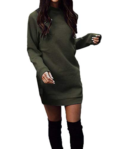 Woweal Frühling Herbst Damen Lang Pulli Kleider Oberteile Casual Langarm Sweatshirt Tuniken Pullover Slim Sweater Kleider Blusenkleid Minikleid Partykleid