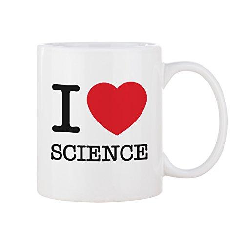 Tasse mug petit-déjeuner de porcelaine blanche 30 cl. Modèle I Love Science