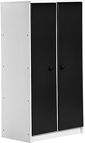 """Design Vicenza """"Avola"""" Zwei Tür Schrank, Holz, Weiß mit Graphit Details"""