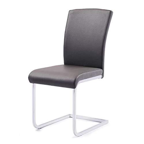 Stühle Möbel Set 2 Essstühle Kunstleder Chromstahl Beine Zum Küche Büro, Konferenzraum, Geschäft Restauran ZX Haushalt Wohnen (Color : Black)