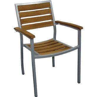 Sedia da giardino, in alluminio/legno di teak (Pretrattato), 4pezzi