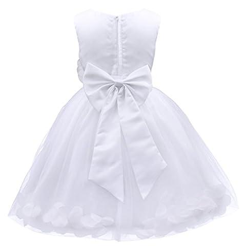 iEFiEL Girl Flower Petals Dress Formal Wedding Bridesmaid Party Christening Princess Dresses White 10