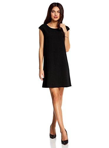 oodji Ultra Femme Robe Coupe Droite avec Décolleté au Dos Noir (2900N)