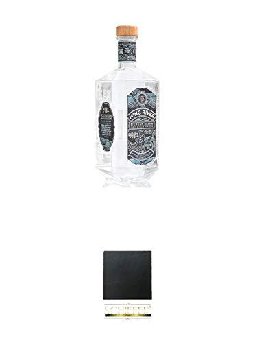 Ming River Sichuan Baijiu (weisser Brand) 45% 0,7 Liter + Schiefer Glasuntersetzer eckig ca. 9,5 cm Durchmesser