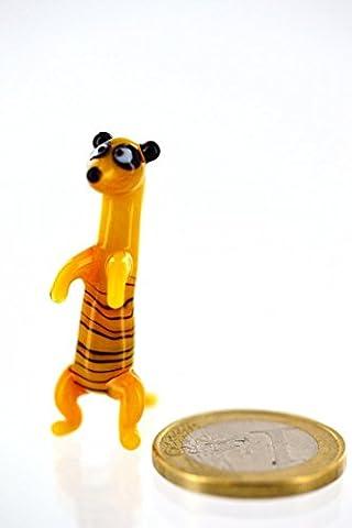 Erdmännchen mini Gelb Orange Braun Schwarz - Miniatur Figur aus Glas kleines Scharrtier Surikate Mangusten Meerkat - Glasfigur Glastier Deko Setzkasten