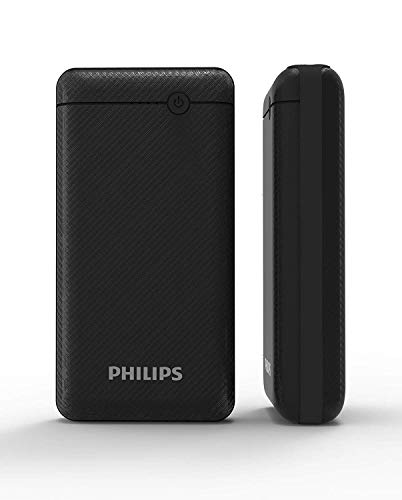 Best philips power bank in India 2020 Philips DLP1720CV Fast Charging Power Bank 20000mAh with Lithium Polymer Battery Black (Twin USB Output Port 3.1A, with Micro USB and Type c Input Image 2
