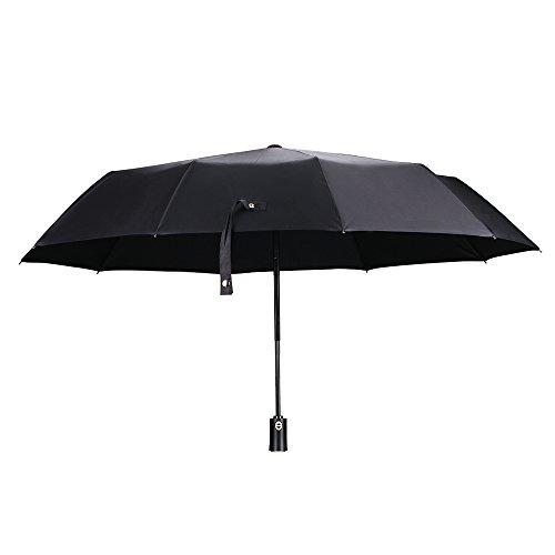 Automatischer Regenschirm Reise, mreechan 10Rippen Golf Regenschirm Compact Auto Open Close One Hand Bedienung winddicht leicht Teflon Beschichtung mit tragbar rutschfester Griff (schwarz) (Winddicht Regenschirm Compact)