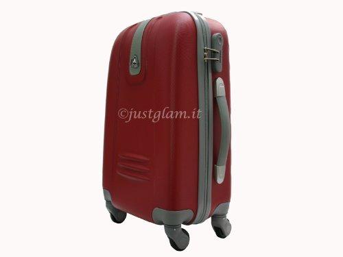 JustGlam - Bagaglio a mano Trolley in ABS rigido 4 ruote piroettanti voli lowcost/ Rosso piccolo