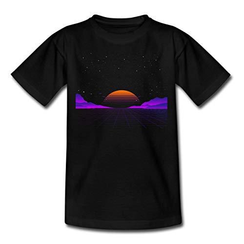 Spreadshirt 80s Sonnenuntergang Vaporwave Teenager T-Shirt, 152/164 (12-14 Jahre), Schwarz