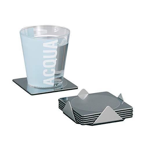 Zeller Glasuntersetzer-Set, 7-teilig, Edelstahl / 9 x 9 x 2.5