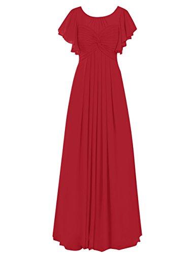 Dresstells Robe de demoiselle d'honneur Robe de cérémonie en mousseline forme empire longueur ras du sol Rouge Foncé