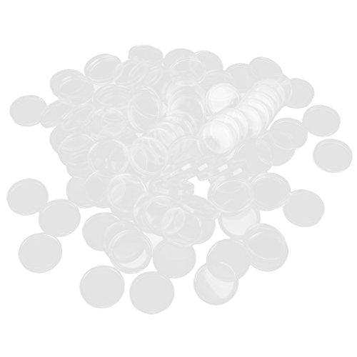 Baoblaze 100 Pezzi Chiari Capsule Monete Contenitori Scatola Hobby e Collezionismo Plastica - 45mm