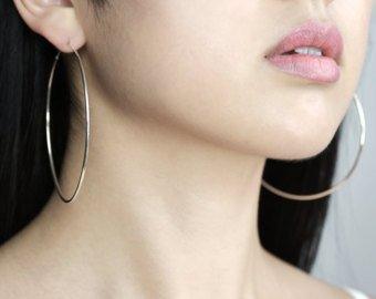 STRIPES Silver Rhodium Polish, Big Hoop Earrings for Women