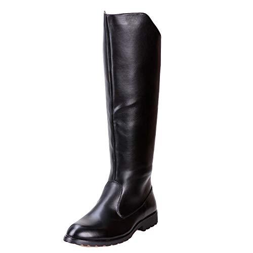 Liabb Männer Armee Reiten Militär-Kampf Black PU Stiefelwanderungen Lange Boots Classic hohe Pferdeschuhe Rutschfeste Wasserdichte Schuhe,Black,37 Terrain Stiefel