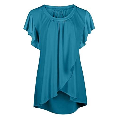 Zegeey Damen T-Shirt Oberteil Kurzarm Mit RüSchen Einfarbig Chiffon Crop Sommer UnregelmäßIger Bluse Shirts Pullover LäSsige Lose (Blau,EU-40/CN-XL)