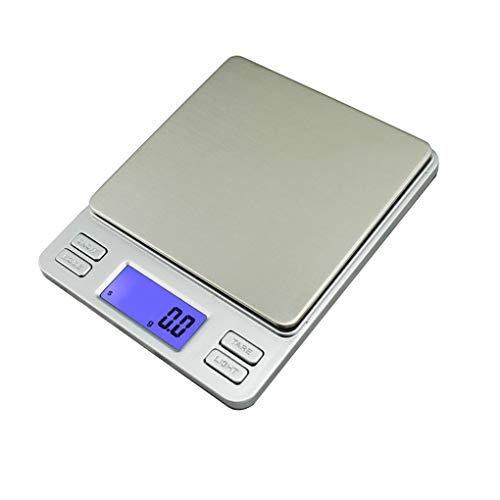 Digitale Küchenwaagen, Elektronische Küchenwaage Für Zuhause, Präzision Bis Min 0,1 G Taschenwaage, Max. 4,4 Lb / 2 Kg Einheit G/Oz / Ct - Silber
