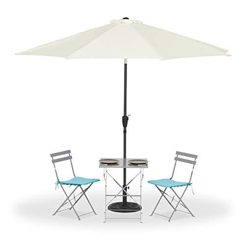 Relaxdays Sonnenschirm knickbar, 2-teiliger Mast, UV-beständig, wasserfest, Gelenk, Windöffnung, Polyester, 3m Ø, weiß
