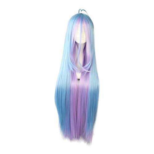 COSPLAZA Blau Lila Glattes Langes Haar Mädchen Leichte Neuartige Animation Spiel NEET Schwester Rollenspiel Cosplay Kostüm Perücke