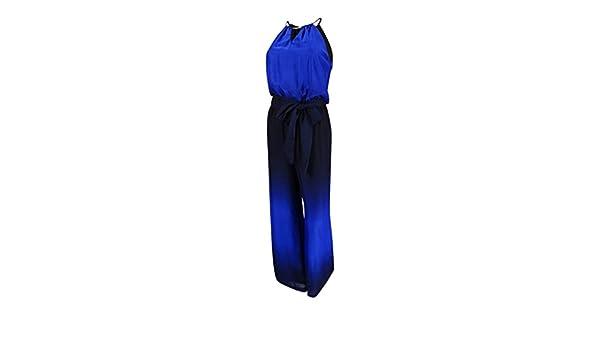 f0cc9ab2210 Tahari ASL Women s Keyhole Halter Jumpsuit - Blue -  Amazon.co.uk  Clothing