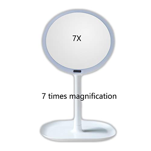 Desktop Menschlichen Körper Induktion LED Spiegel Wiederaufladbare USB Desktop Licht Sensor Kosmetikspiegel 5 Mal 7-Fach Lupe Tragbare Kreative Infrarot-Sensor WUHX,White,3
