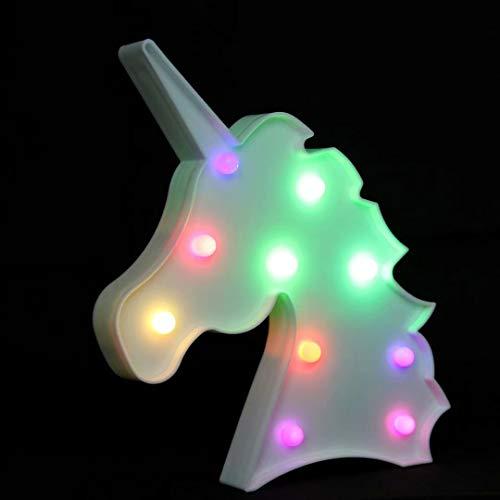 NUÜR Unicorn - Lámpara LED de luz nocturna con cambio de color múltiple para niños, decoración del hogar, fiesta, dormitorio, funciona con pilas