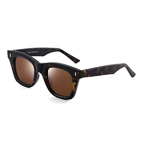 JIM HALO Polarisiert Retro Platz Sonnenbrillen Für Damen Flache Linse Schatten UV400(Schildkrötenrahmen/Polarisierte Braune Linse)