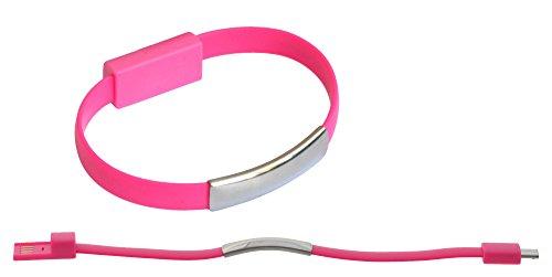 abel USB Daten Kabel Arm Band Bracelet Kette USB gummi elastisch zu Micro USB für Samsung, HTC, LG, Nokia, Sony, Huawei, Motorola, etc.- in Pink Rosa ()