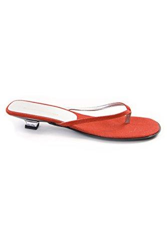 Fornarina sandalo infradito in tela canvas con tacco (2 cm) Red Canvas