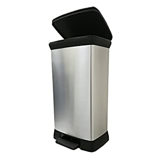 Curver 50 L Metal Effect Plastic Pedal Touch Deco Bin, Soft Close, Silver, 39 x 29 x 72 cm