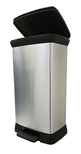 CURVER Deco Bin Abfalleimer, Plastik, Silber Metallic, 39 x 29 x 72 (Mülleimer Silber)