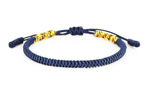 Mister Boncuks Get Lucky Knoten Armband - Tibetische Buddha Handarbeit Glücksbringer Knoten Armband - Yoga Sport - Meditation - Glück - Liebe - Geschenk - Mode - Trend (Navy Blau)