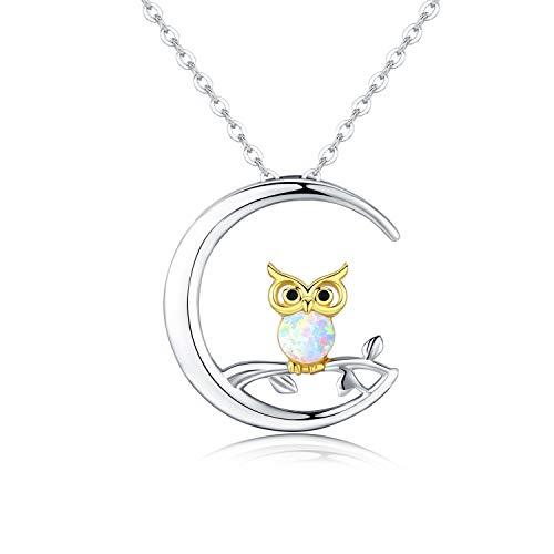 Eule Mond ketten,Damen Sterling Silber Eule Opal Anhänger Halskette,Eule Schmuck Geburtstags geschenk für Frauen mädchen Geschenk box
