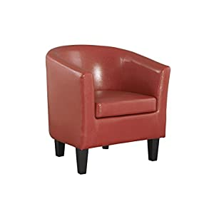 The One Tub Chair Red Armchair - Red Leather Tub Chair Faux - Red Living Room Chair - Living Room Furniture - Bedroom Furniture