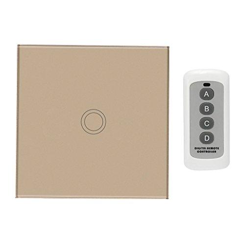 Baoblaze Touchschalter 1 2 3 Gang Wandschalter Lichtschalter Touch Schalter - Gold, 1 Gang