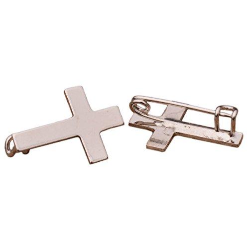 Junker Kirchenbedarf Anstecker Kreuz silberfarben 2cm - Anstecknadel für Priester Kommunion Konfirmation