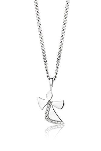 Miore Kette - Halskette Damen Kette Silberfarbig 925 Sterling Silber mit Engel mit Rundschliff Zirkonia Steinchen 45 cm (Passende Kreuz Eheringe)