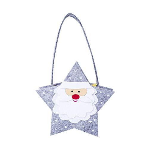 BESTOYARD Weihnachtskarikatur-Süßigkeits-Beutel-Filz-Tragbare Geschenktüte Fünfzackiger Stern Santa Claus Design Bag Lightweight Tasche für Kinder